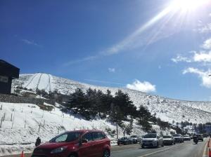 Chegando em Navacerrada = trânsito no final de semana