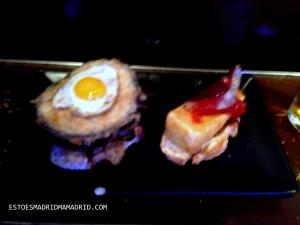 O da esquerda é de berinjela e ovo, o da direita é de queijo brie e jamón de pato